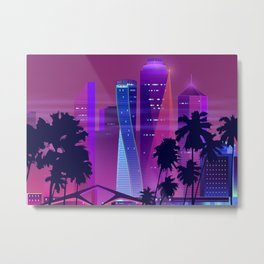 Synthwave Neon City #25: Vice city Metal Print