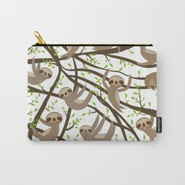 funny and cute smiling Three-toed sloth on green branch tree creeper Carry-All Pouch