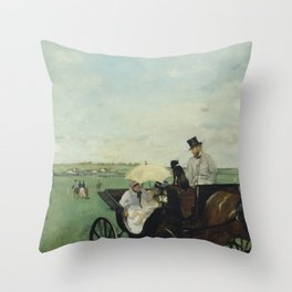 At the Races in the Countryside Throw Pillow
