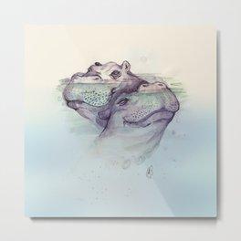 Underwater Hippos Metal Print