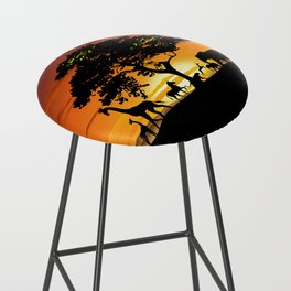 Wild Animals on African Savanna Sunset Bar Stool