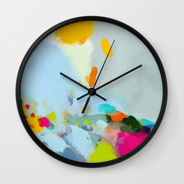 pink hill with sun ray Wall Clock