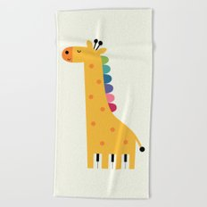Giraffe Piano Beach Towel