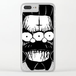 Black Metal Religious Guy Clear iPhone Case