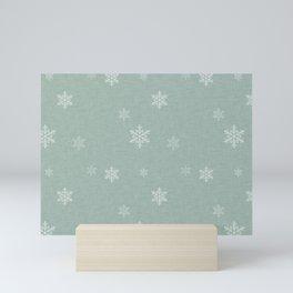 Snow Flakes pattern Green #homedecor #nurserydecor Mini Art Print