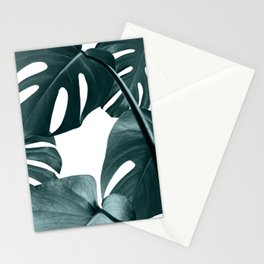 Monstera leaf art Stationery Cards