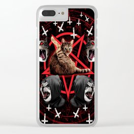 satanic cat pentagram death black metal band exorcist Clear iPhone Case
