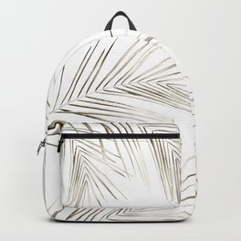 White Gold Palm Leaves on White Backpack