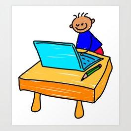 Laptop Boy Art Print