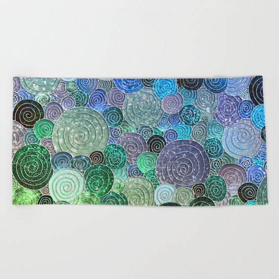 Abstract blue& green glamour glitter circles and polka dots for ladies Beach Towel