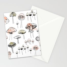 Mushroom harvest - pink and green Stationery Cards