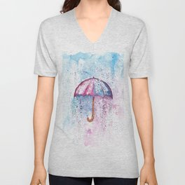 Umbrella Watercolor Painting Unisex V-Neck