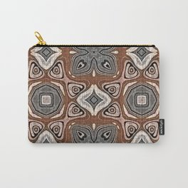 Gray Brown Taupe Beige Tan Black Hip Orient Bali Art Carry-All Pouch