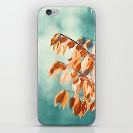 Teal Orange Nature Photography, Turquoise Aqua Burnt Orange Leaves Branches iPhone Skin