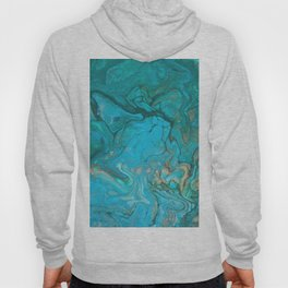 Fluid Nature - Malachite Flows - Acrylic Pour Art Hoody