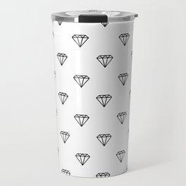 diamond illustration pattern - white and black Travel Mug