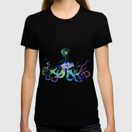 Watercolour Octopus on Marble Background T-shirt