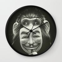 vendetta Wall Clocks featuring Anonymous by Dctr. Lukas Brezak