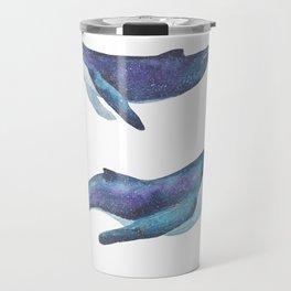 Three big space whales illustration Travel Mug