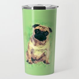 Cute Pug dog on gentle green Travel Mug