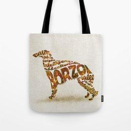 Borzoi Dog Typography Art / Watercolor Painting Tote Bag
