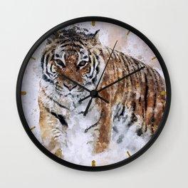KING watercolor Siberian Tiger Wall Clock
