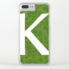K initial letter alphabet on the grass Clear iPhone Case