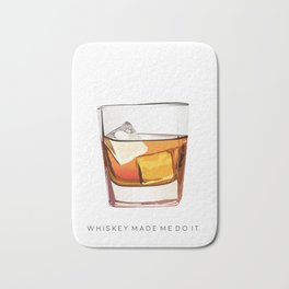 Alcohol Poster,Funny Poster Whiskey Art,Make Mine a Double,Alcohol Gift,Whiskey Cocktail,Inspiring Bath Mat
