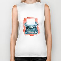 typewriter Biker Tanks featuring Typewriter by Elena Sandovici