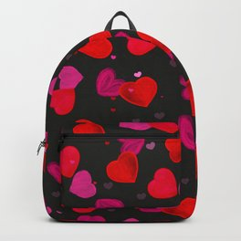 Valentine's Day background with hand drawn pink and red heart black background Backpack