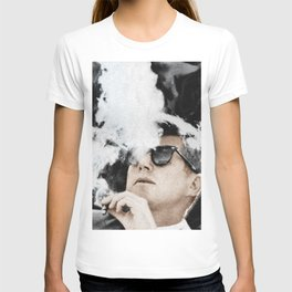 Cigar Smoker Cigar Lover JFK Gifts Black And White Photo Tee Shirt T-shirt