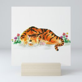 Sleeping tiger watercolor Mini Art Print