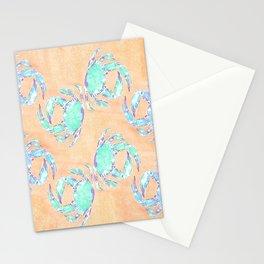 Crab orange blue nautical Stationery Cards