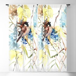 Sparrow, bird and flowers vintage style watercolor design sparrow Blackout Curtain