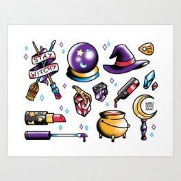 Witchy Flash Sheet Art Print