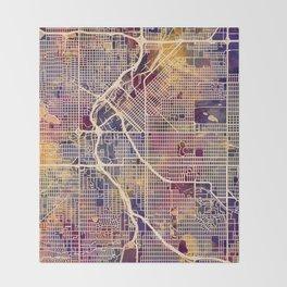 Denver Colorado Street Map Throw Blanket