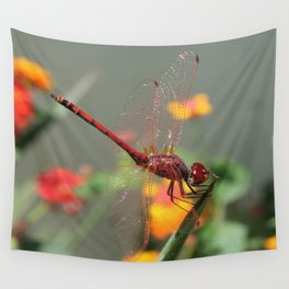Red Skimmer or Firecracker Dragonfly With Lantana Background Wall Tapestry