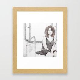 closed eyes - woman dotwork portrait Framed Art Print
