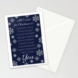 All I Want for Christmas (Austen Heroes, blue) Stationery Cards