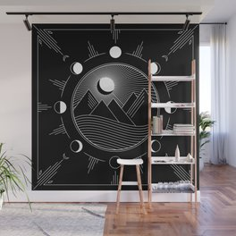 Moon Phases & Mountains Wall Mural