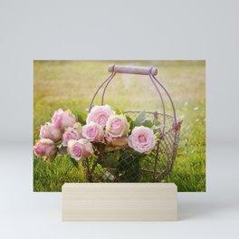 Roses Blossom Bloom Pink Mini Art Print