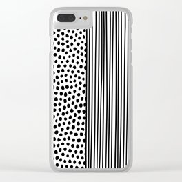 Black and White Dots and Stripes Clear iPhone Case
