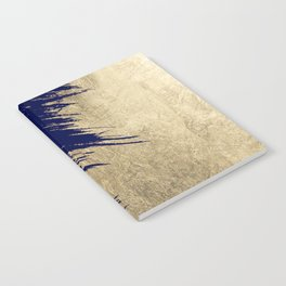 Navy blue abstract faux gold brushstrokes Notebook