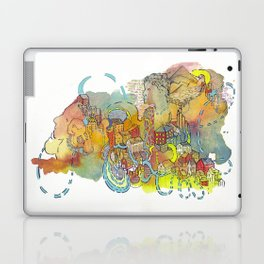 Village of Portraits Abstract Landscape Watercolor Illustration Painting Laptop & iPad Skin