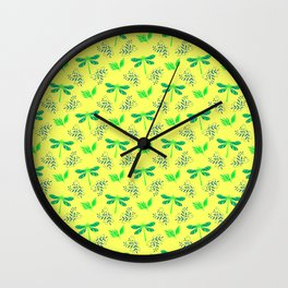 Pretty beautiful cute green dragonflies, delicate little leaves elegant bright spring yellow pattern Wall Clock