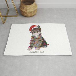 Cute cat with Santa Claus hat and light bulb Rug