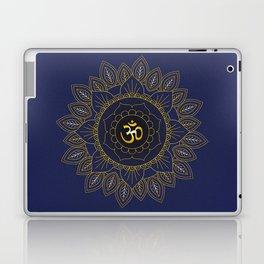 Om Symbol and Mandala in Spiritual Gold Purple Blue Violet Laptop & iPad Skin