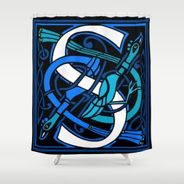 Celtic Peacocks Letter S Shower Curtain