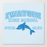 iwatobi Canvas Prints featuring Iwatobi - Dolphin by drawn4fans
