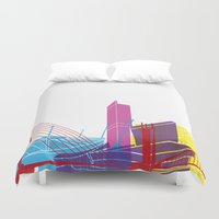 manchester Duvet Covers featuring Manchester skyline pop by Paulrommer